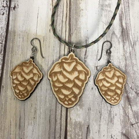 Hops Flower Beer Earrings and Pendant Necklace Set - Baltic Birch Wood