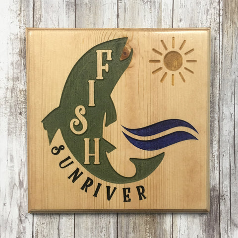 Fish Sunriver Sign - Carved Pine Wood