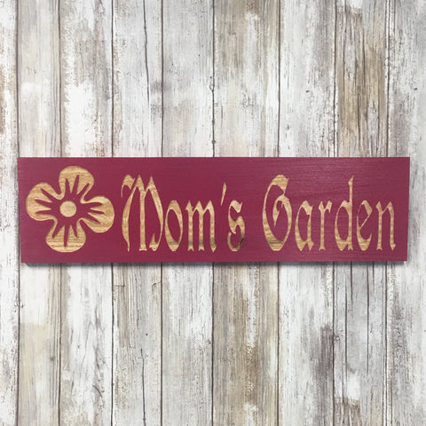 Mom's Garden Ornament Sign - Carved Cedar Wood