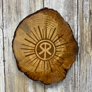 Small Sunriver Oregon Logo Wall Hanging - Made from Fallen Tree Burl