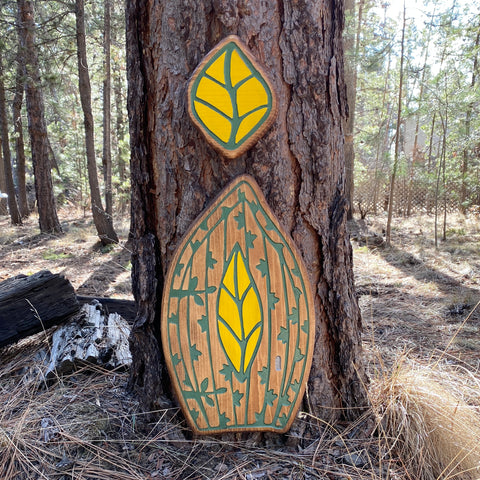 Large Leaf Shaped Fairy Door and Window - Carved Pine Wood