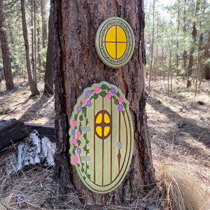 Large Flower Vine Fairy Door and Window - Carved Pine Wood
