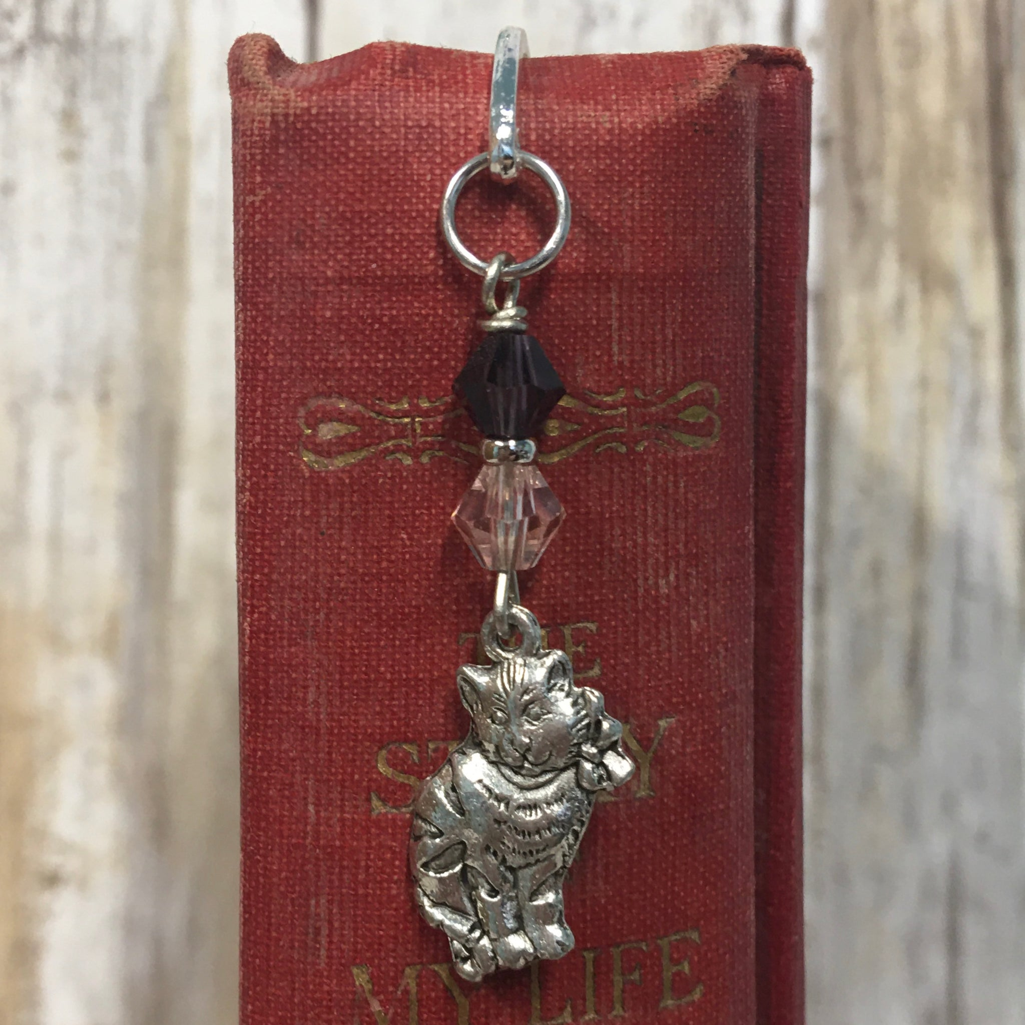 Alice in Wonderland Bookmarks - Hook Style with Swarovski Crystals & Charm