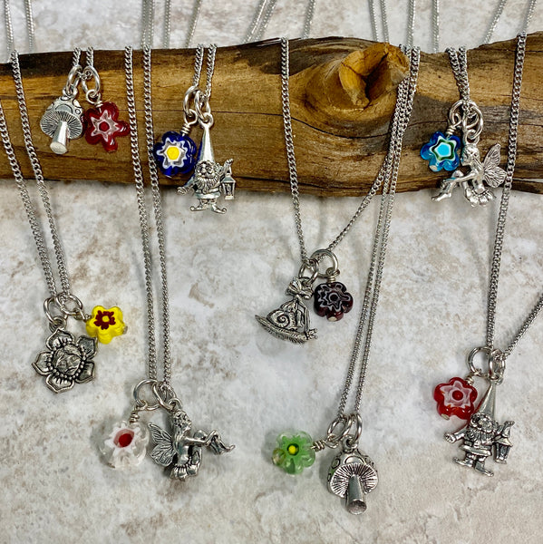 Forest Fairy and Gnome Charm Necklace - Happy Colorful Flowers