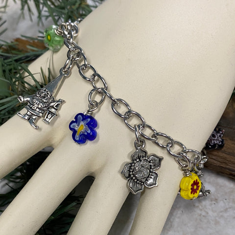 Forest Fairy and Gnome Charm Bracelet - Happy Colorful Flowers