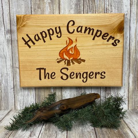 Personalized Happy Camp Fire Sign - Carved Pine Wood