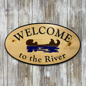 Welcome to the River Otter Floating Wall Hanging Sign - Carved Pine Wood