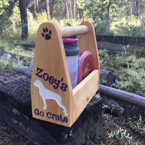 Personalized Dog Go Crate - Food Water Pet Carrier - Carved Pine Wood
