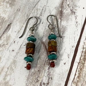 Canyon River Earrings - Pewter Jasper Stones & Czech Glass