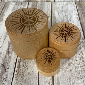 Round Sunriver Oregon Logo Box - 3 Sizes to Choose From - Laser Engraved Wood