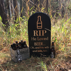RIP He Loved Beer Yard Ornament Grave Head Stone Tomb Halloween Decoration