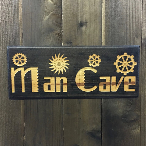 Man Cave with Gears Sign - Carved Pine Wood