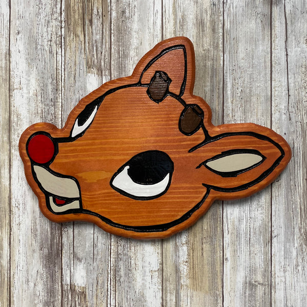 Rudolph the Red Nosed Reindeer Face Christmas Wall Hanging Sign - Engraved Pine Wood