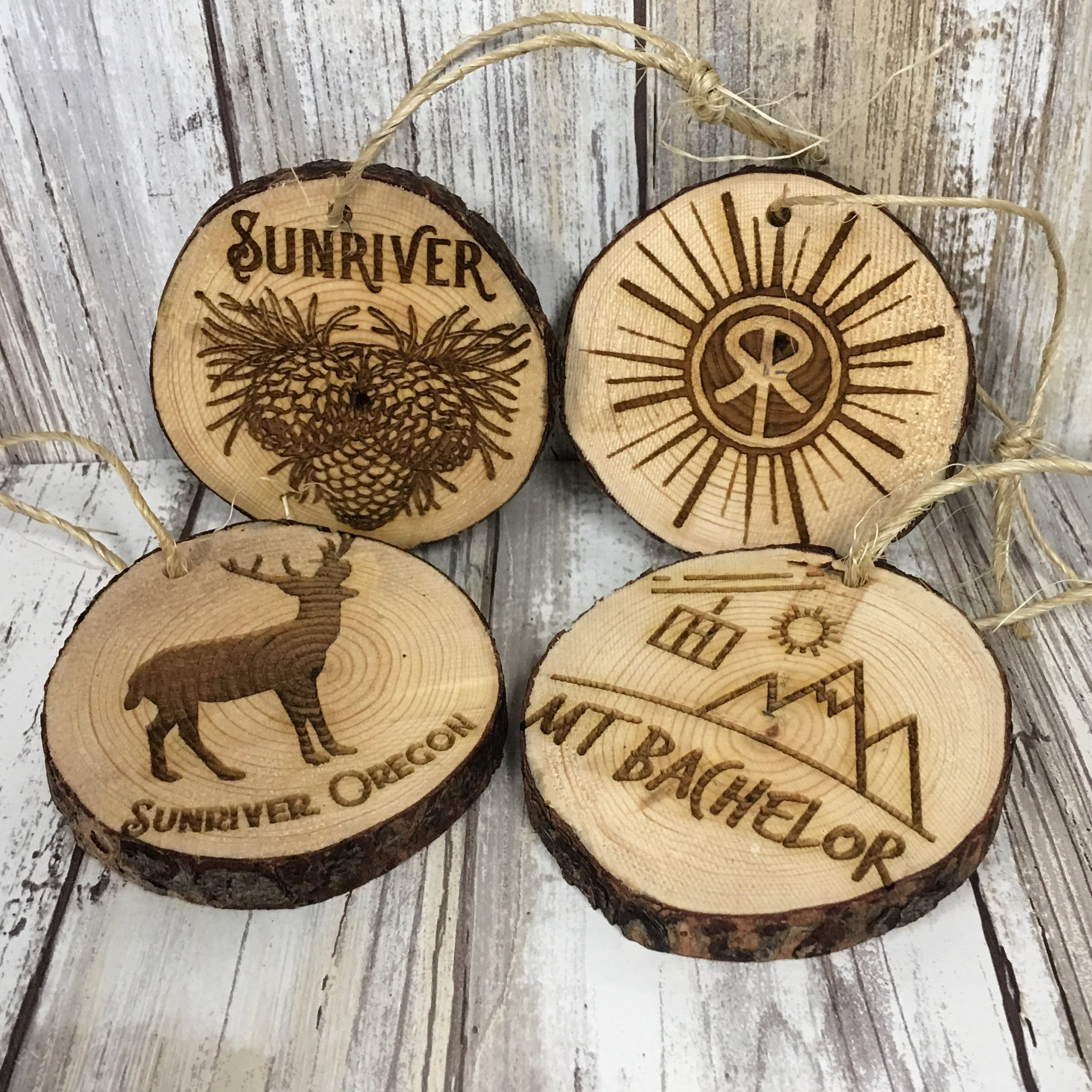 Sunriver & Mt. Bachelor Log Slice Christmas Tree Ornaments