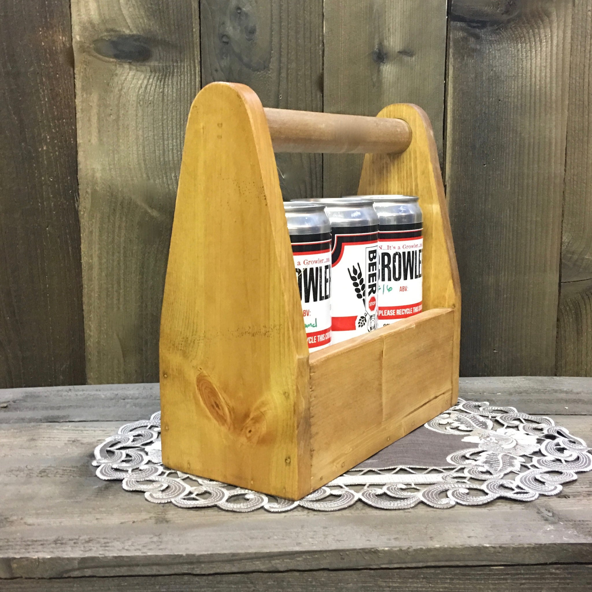 Plain and Simple Crowler Can Carrier - As Shown Holds Three 32oz Crowler Cans - Other Sizes Available
