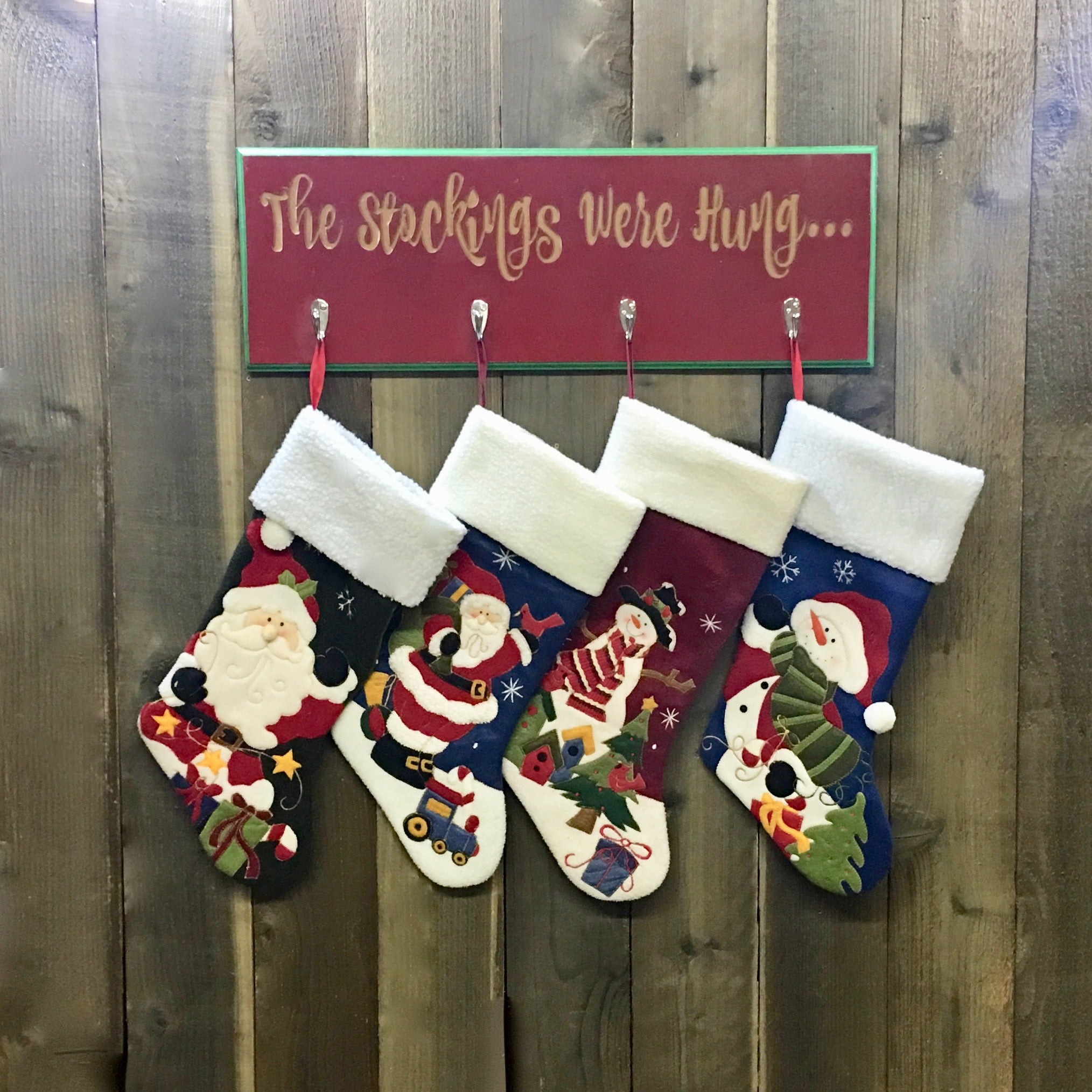 The Stockings Were Hung - Christmas Stocking Hanger - Carved MDF Wood