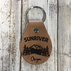 Sunriver Oregon Mountain Scene Leather Key Chain Fob