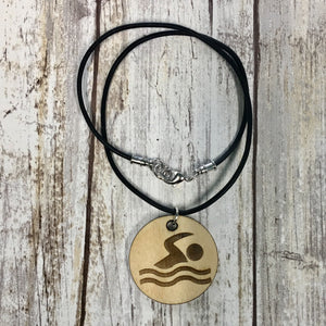 Swimmer Pendant Necklace - Baltic Birch Wood