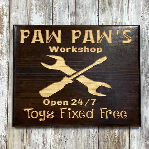 Paw Paw's Workshop Tool Sign  - Carved Pine Wood