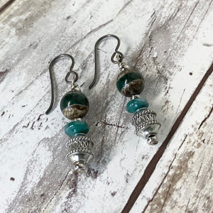 Canyon River Earrings - Pewter Earthy DZI Stones & Czech Glass