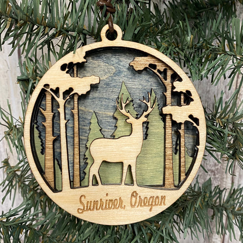 Sunriver 3 Dimensional Forest Deer Christmas Tree Ornament