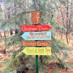 Rudolph the Red Nose Reindeer Directional Sign Christmas Yard Decoration - Choose Locations