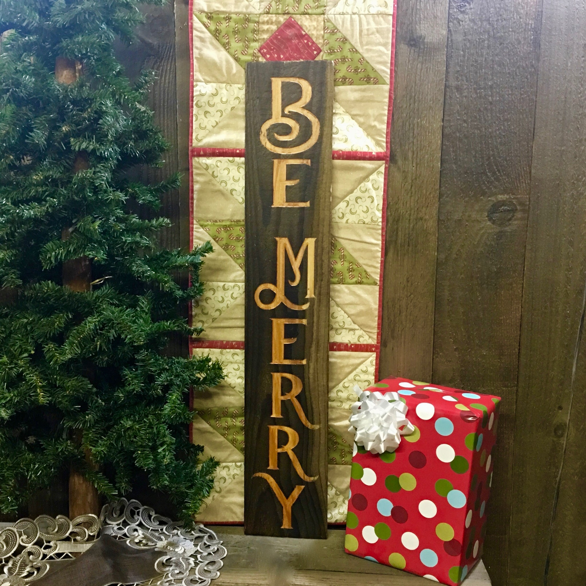 Be Merry - Vertical Rustic Christmas Carved Cedar Wood Sign
