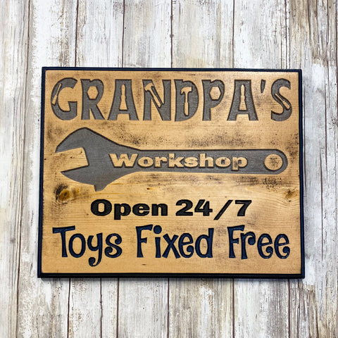 Grandpa's Workshop Wall Hanging Sign - Carved Pine Wood