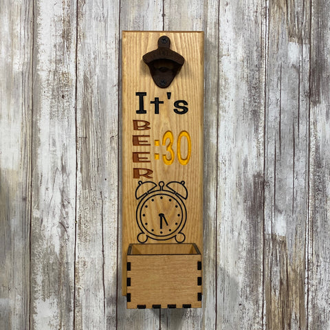 It's Beer 30 Bottle Opener - Beer Cap Catcher Wall Mounted - Carved Pine Wood