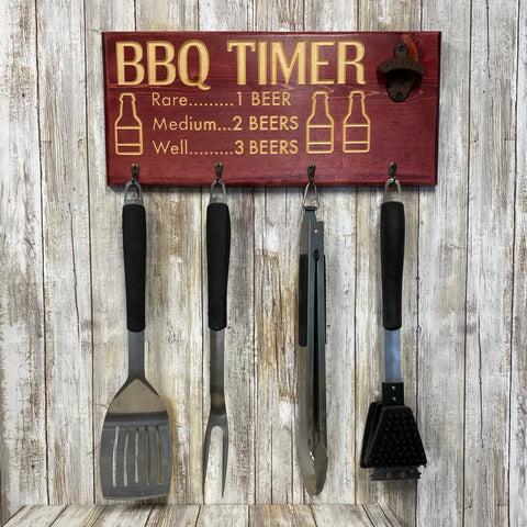 Beer BBQ Timer Barbecue Tool Holder with Beer Opener - Red Stained Engraved Pine Wood