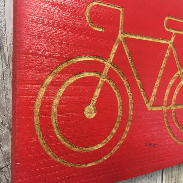 Share the Road Bicycle Sign - Carved Cedar Wood