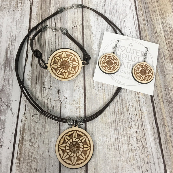 Art Deco Spiral Sun - Bracelet, Earrings and Pendant Necklace - Baltic Birch Wood