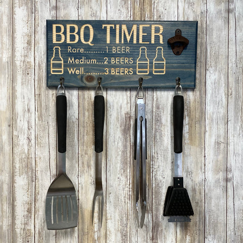 Beer BBQ Timer Barbecue Tool Holder with Beer Opener - Blue Stained Engraved Pine Wood