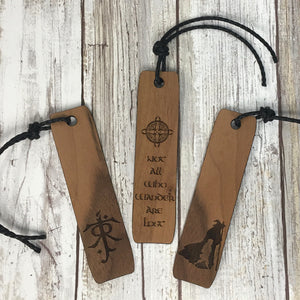 Lord of the Rings Bookmarks - Laser Engraved Walnut Wood
