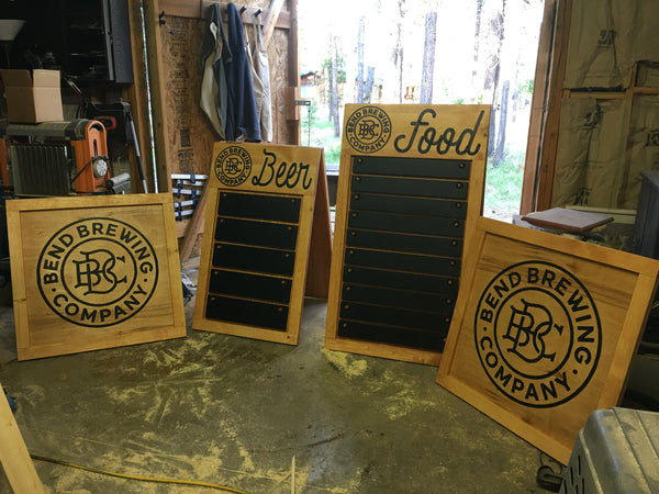 Custom Sandwich Board with Individual Removable Chalk Board Signs - Engraved Pine