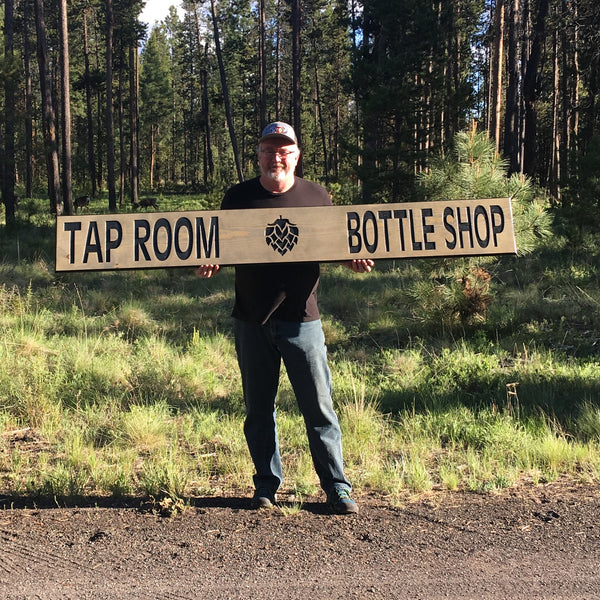 Tap Room & Bottle Shop Business Signs - Carved & Painted Pine Wood