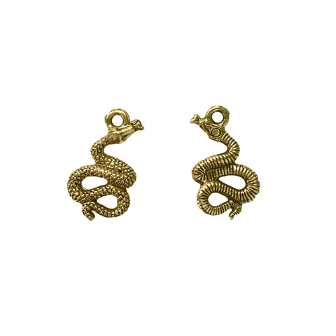 Asp Snake Charms - Qty of 5 - 24kt Gold Plated Lead Free Plated Pewter - American Made