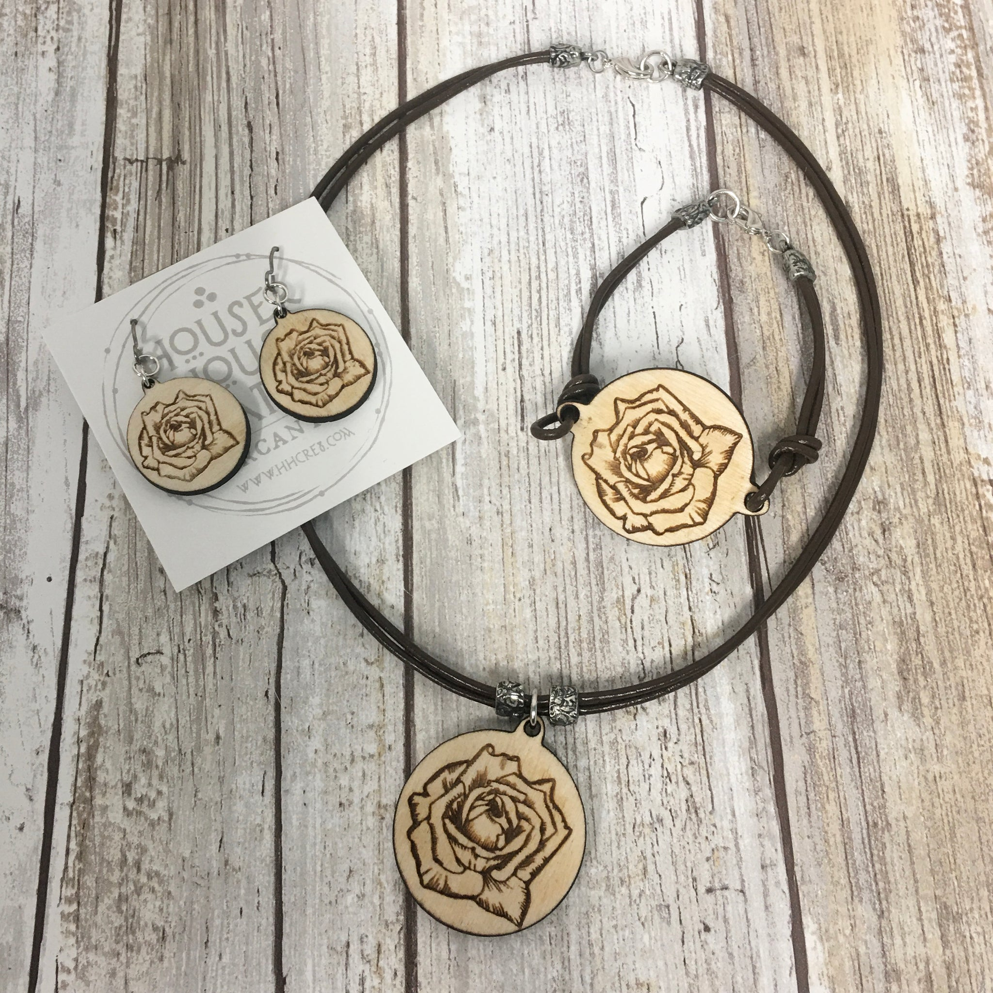 Rose Bud Flower - Bracelet, Earrings and Pendant Necklace - Baltic Birch Wood