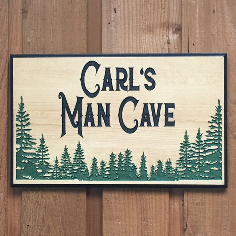 Personalized Pine Tree Man Cave Sign - Carved Pine Wood