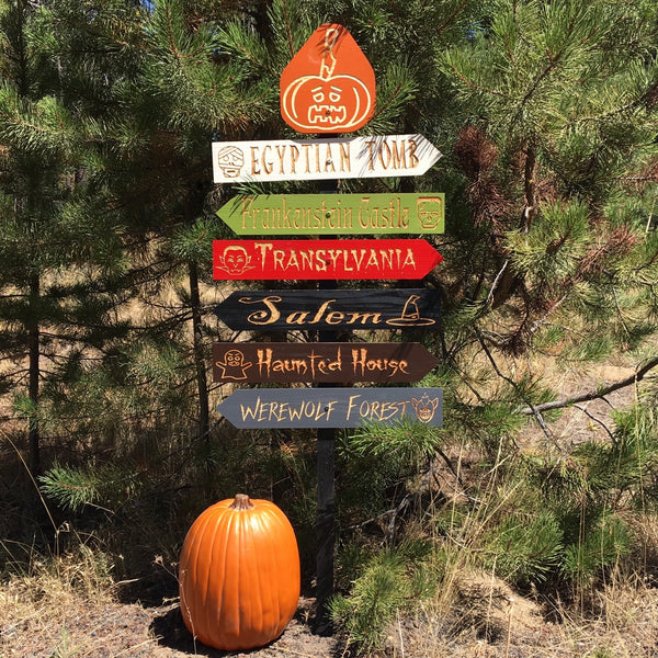 Classic Horror Halloween Streets Lawn Ornament Directional Signs - Carved Cedar Wood Holiday Decor