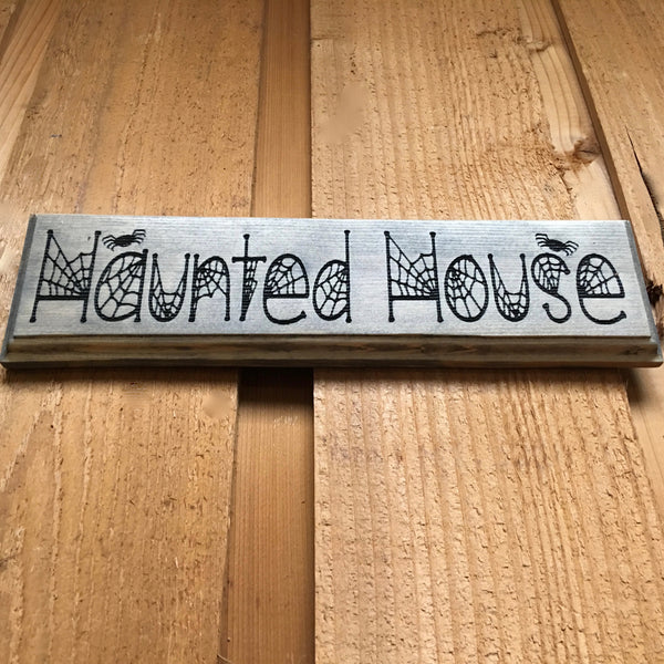 Small Haunted House Sign - Carved Pine Wood