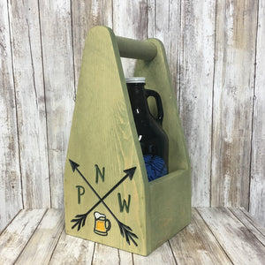 PNW Pacific North West Beer Carrier - As Shown Holds One 64oz Growler Bottle - Other Sizes Available