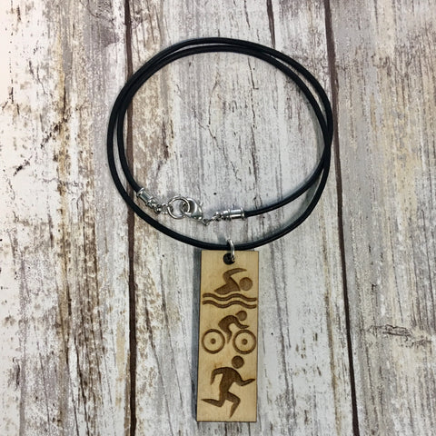 Triathlon Pendant Necklace - Baltic Birch Wood