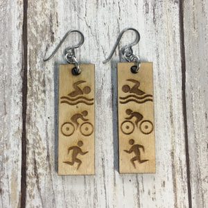 Triathlon Swim Bike Run Earrings - Baltic Birch Wood