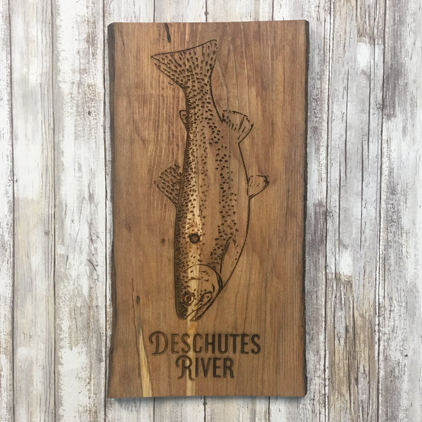 Deschutes River Trout Wood Sign - Cabin Decor - Laser Engraved Reclaimed Pine Tree Wood