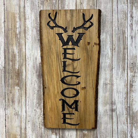 Rustic Antler Welcome Sign - Live Edge Lodgepole Pine Wood Sign
