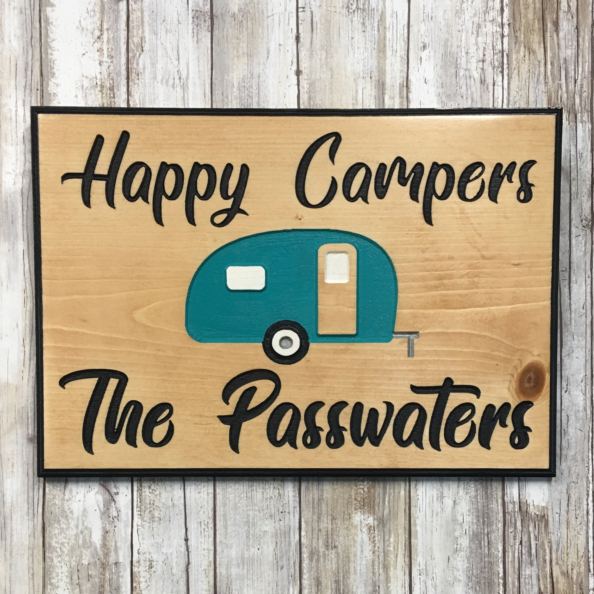 Personalized Happy Camper Sign Carved Pine Wood Houser House