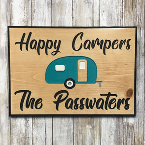 Personalized Happy Camper Sign - Carved Pine Wood