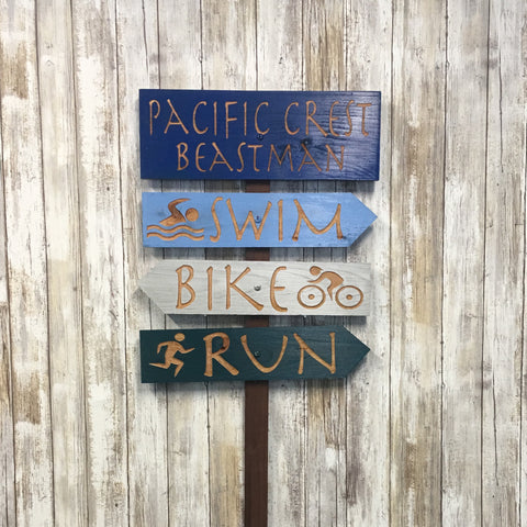 Pacific Crest Beastman Triathlon Directional Sign Set - Carved Cedar Wood