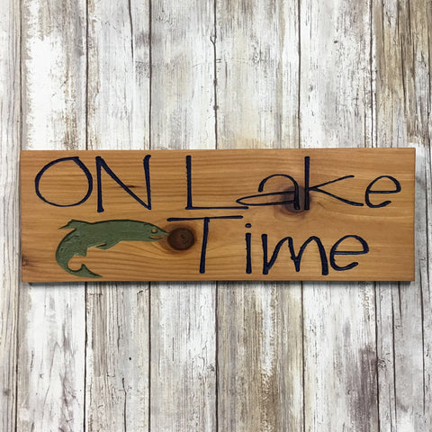 On Lake Time Rustic Wood Sign - Cabin Decor - Carved Engraved Cedar Wood